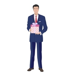 Business man in classic suit holding box gift vector