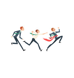 Business people running to finish line team vector