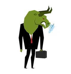 Businessman Bull Player on stock exchange with vector image