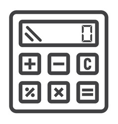 calculate line icon business and calculator vector image