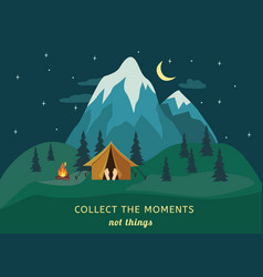camping tent bonfire ice peak mountain vector image