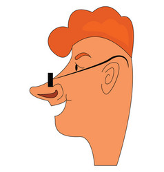 caricature of ginger boy smilling on white vector image