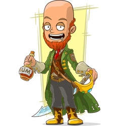 Cartoon redhead pirate with rum vector