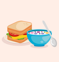 Cereal with spoon and delicious sandwich breakfast vector