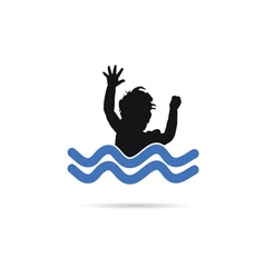 Child in water silhouette vector