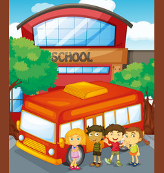 Children standing schoolbus at school vector