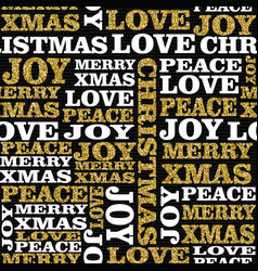 christmas gold glitter word seamless pattern art vector image