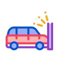 crash car wall icon outline vector image