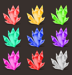 crystal set different colors crystal stone or vector image