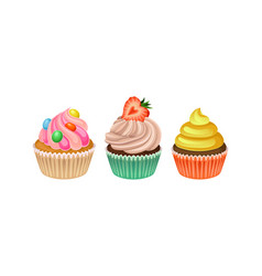 Cupcakes with whipped cream and berry set vector