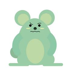 Cute grumpy mouse icon image vector