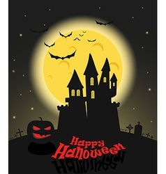 Dark castle in a full moon Happy Halloween vector image