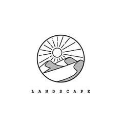 Desert logo design templatemountain hill vector