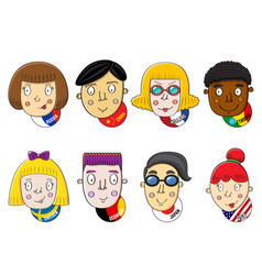 Different nations human faces set vector