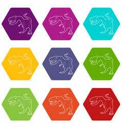 Dinosaur tyrannosaur icons set 9 vector