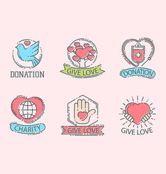 Donate money set logo icons help icon donation vector