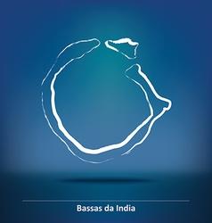 Doodle map of bassas da india vector