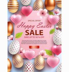 easter sale banner design with rose gold ornate vector image