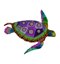 Entangle stylized color turtle hand drawn vector