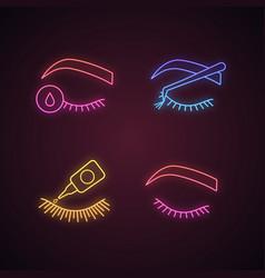 Eyelash extension neon light icons set vector