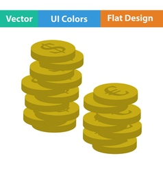 Flat design icon of Stack of coins vector