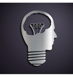 Flat metallic logo bulb of a human head vector image