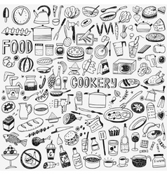 Food cookery doodles vector