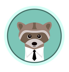 funny raccoon in a shirt with a tie vector image