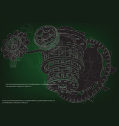 gear mechanism on green vector image