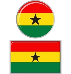Ghanaian round and square icon flag vector