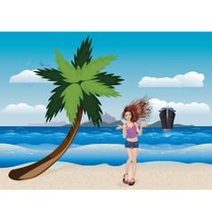 Girl on a Sunny Beach2 vector image