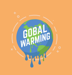 global warming melting earth vector image