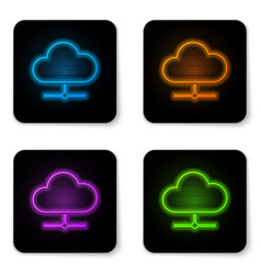 glowing neon network cloud connection icon vector image