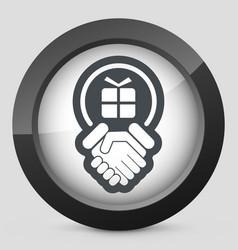 Handshake for gift icon vector