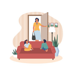 happy mother coming back home from work kids vector image