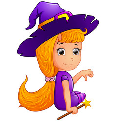 happy witch cartoon sitting vector image