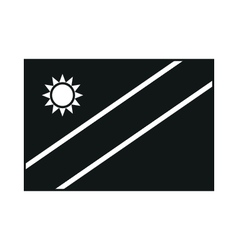 High detailed flag of Namibia monochrome on white vector image