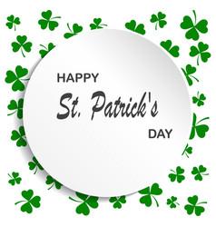 irish shamrock leaves background for happy st vector image