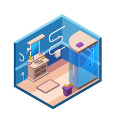 Isometric modern bathroom interior vector