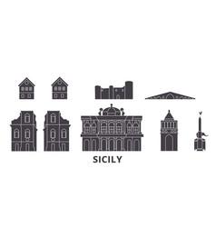 Italy sicily flat travel skyline set italy vector
