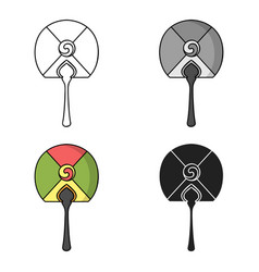 korean hand fan icon in cartoon style isolated on vector image