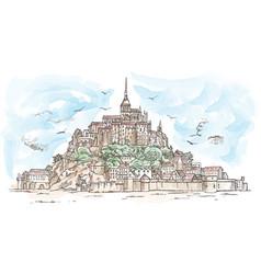 Le mont saint michel france hand drawn sketch vector