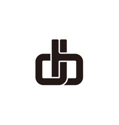 letter bd simple linked geometric flat logo vector image