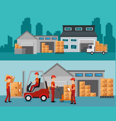 logistic services with warehouse building vector image