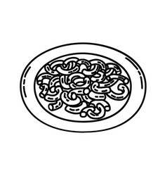 Macaroni pasta icon doodle hand drawn or outline vector
