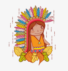 Man indigenous with feathers and autumn leaves vector
