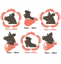 meat symbols vector image