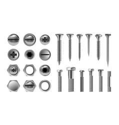 Metal screw set stainless bolt hardware vector