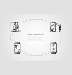 mobile communication - mobile phone screen and vector image