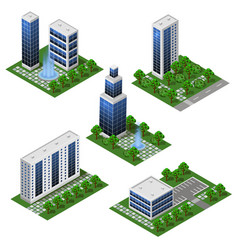 Modern city buildings isometric set isolated vector